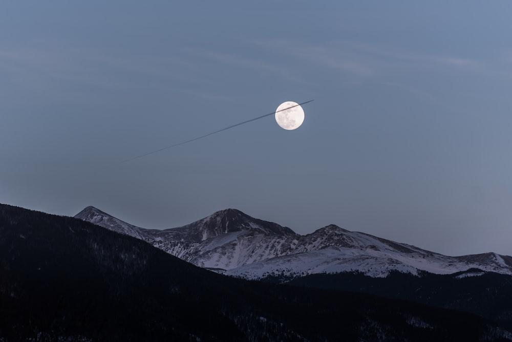full moon during dawn
