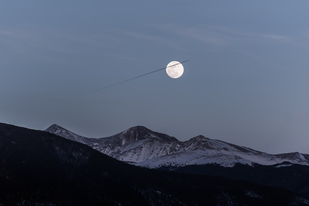 full moon during dawn