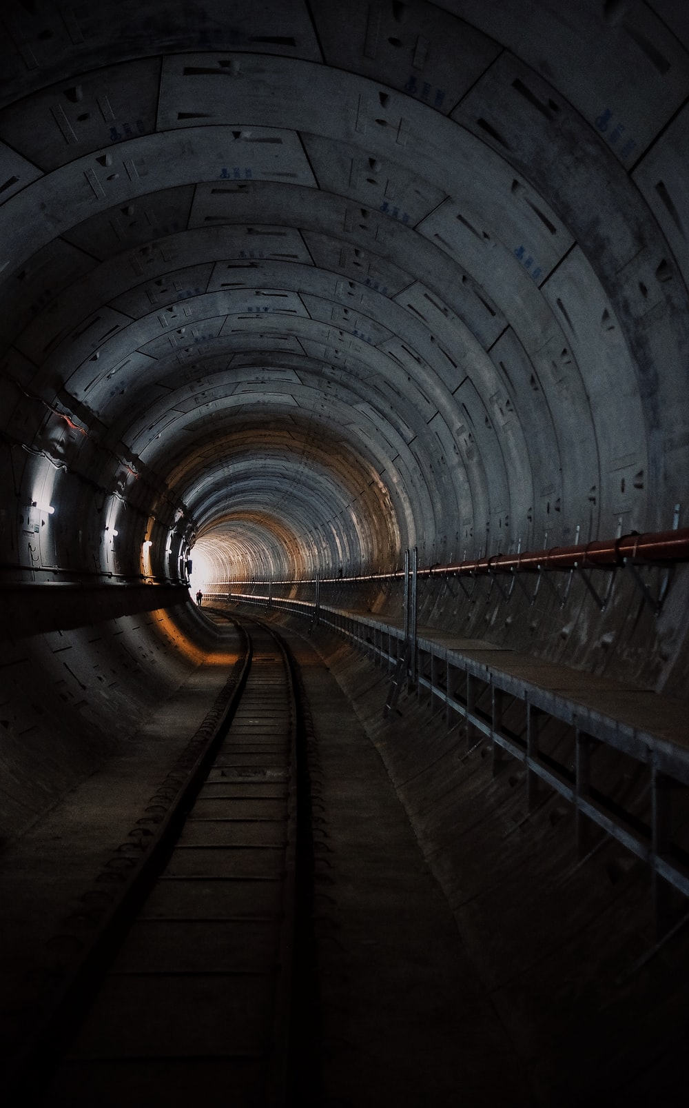 photo of train rail tunnel