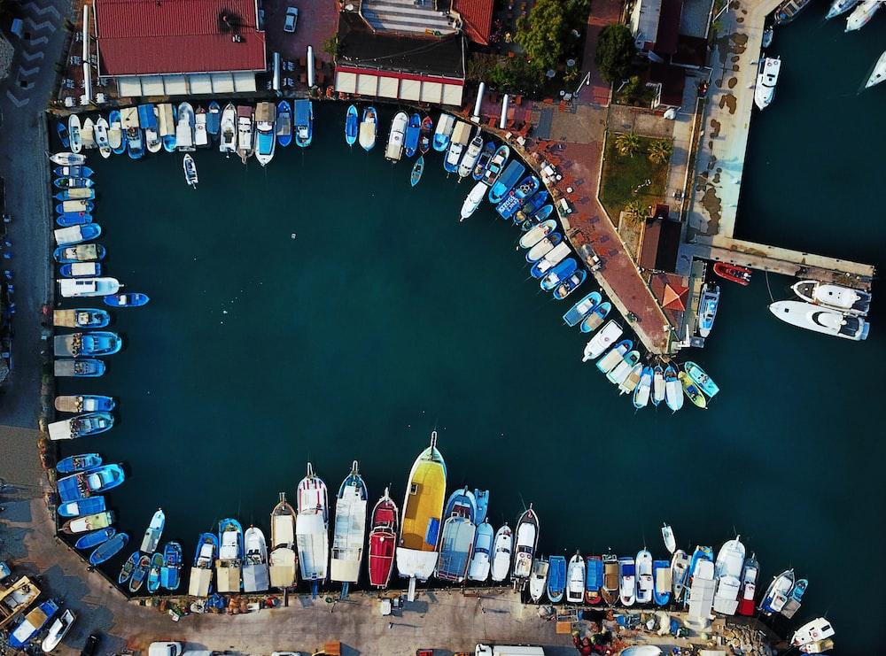 bird's eye view of docks beside boats