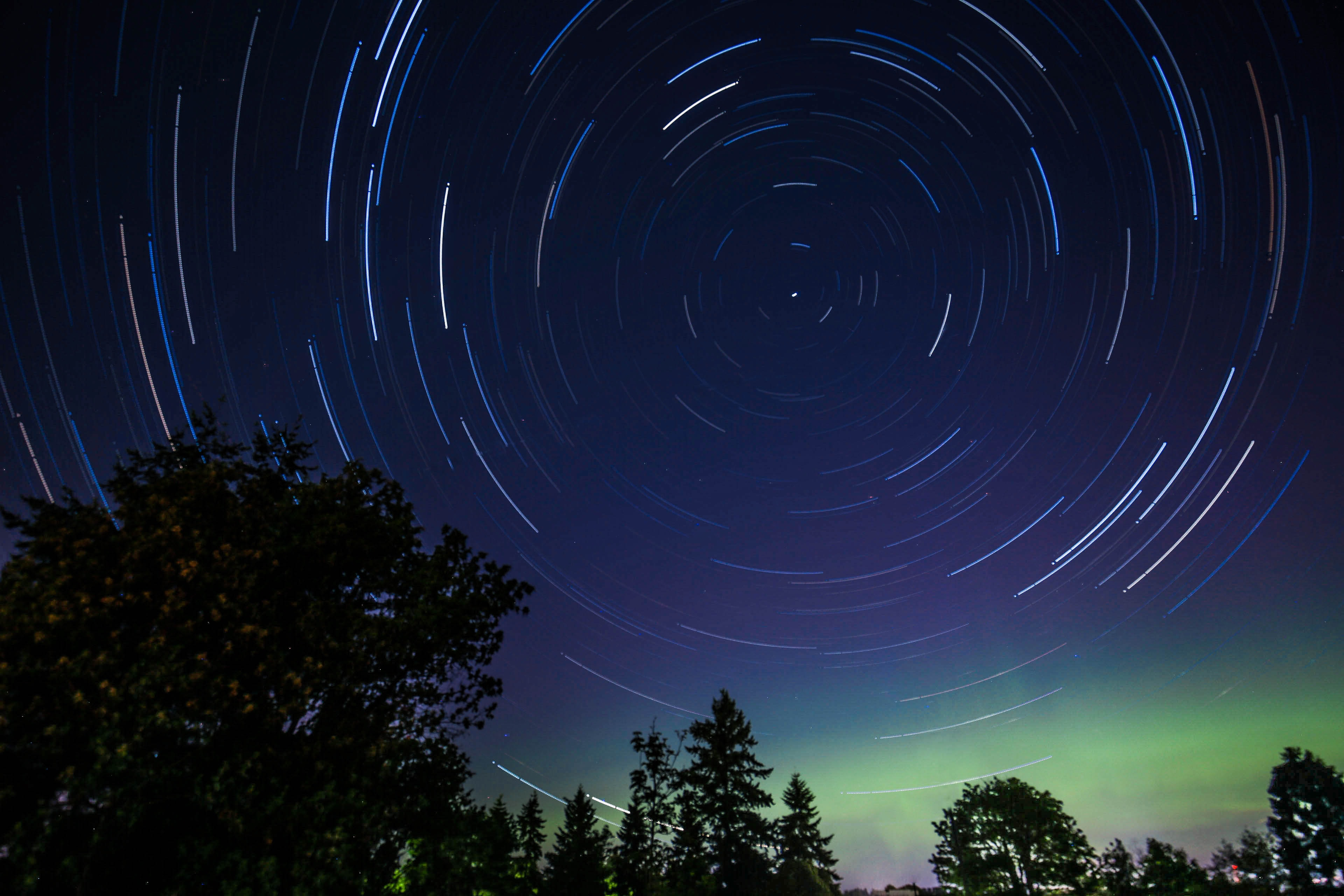 Circular shapes formed by star moving across the night sky