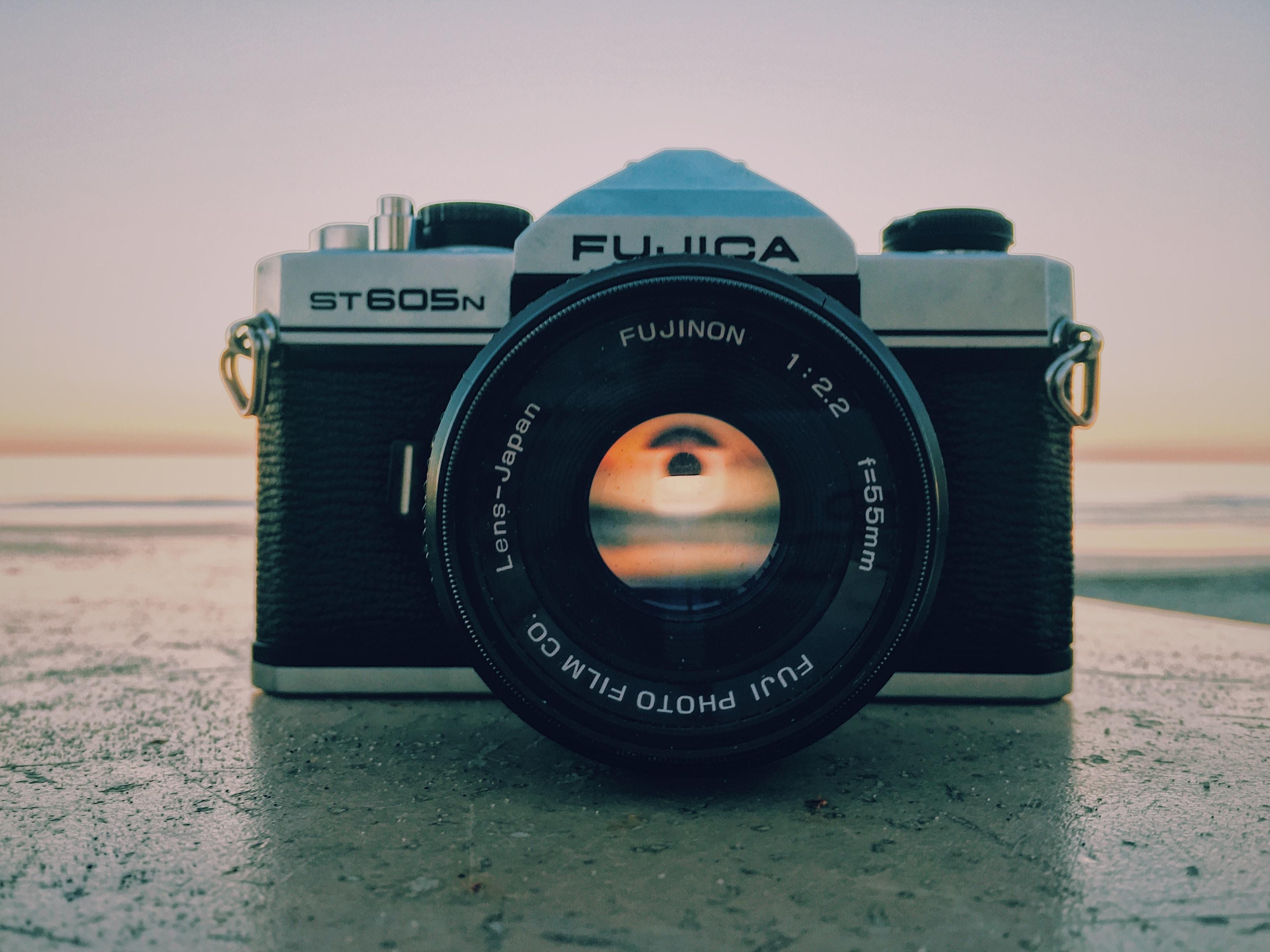 back and white Fujica DLSR camera