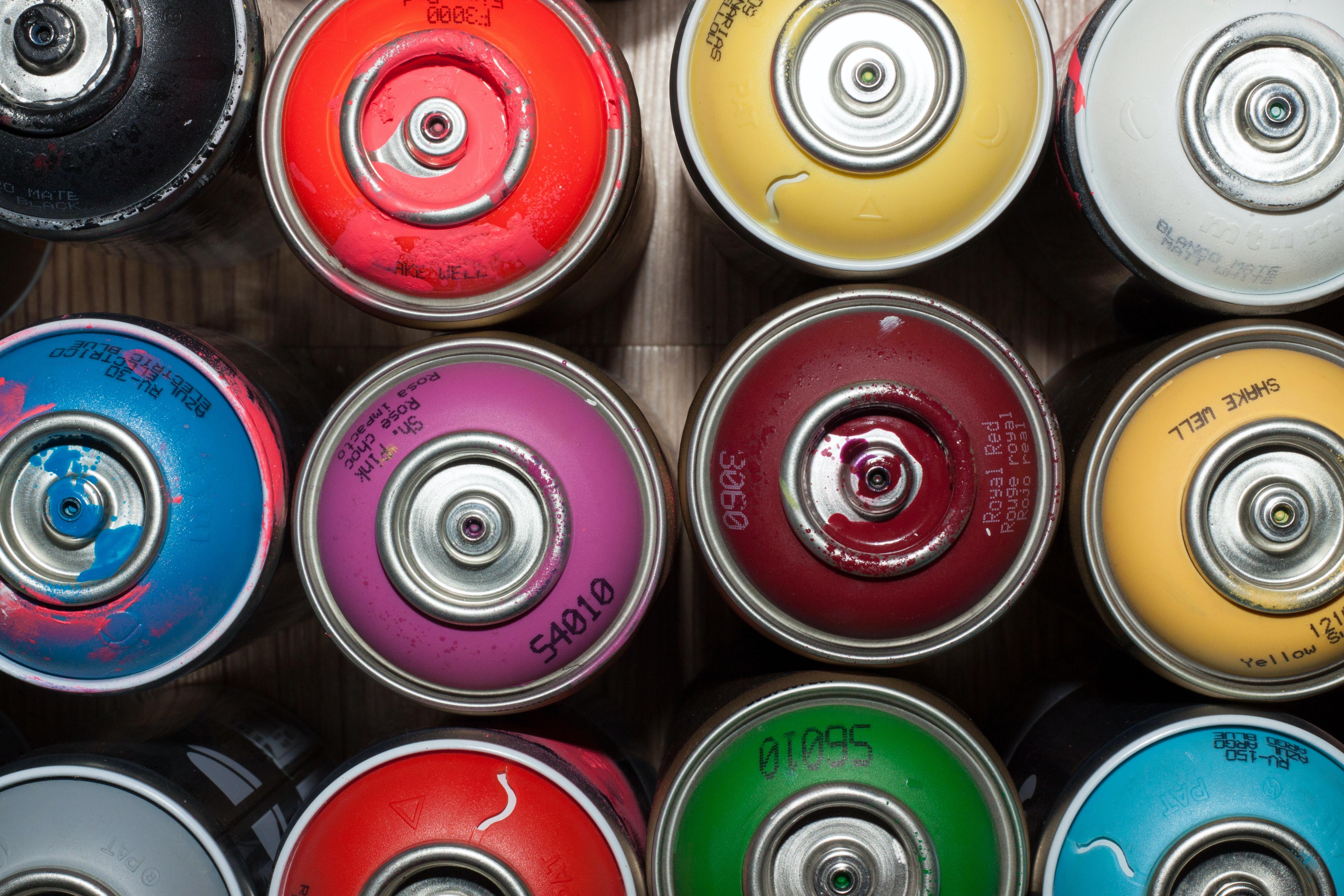 variety of paint spray bottles