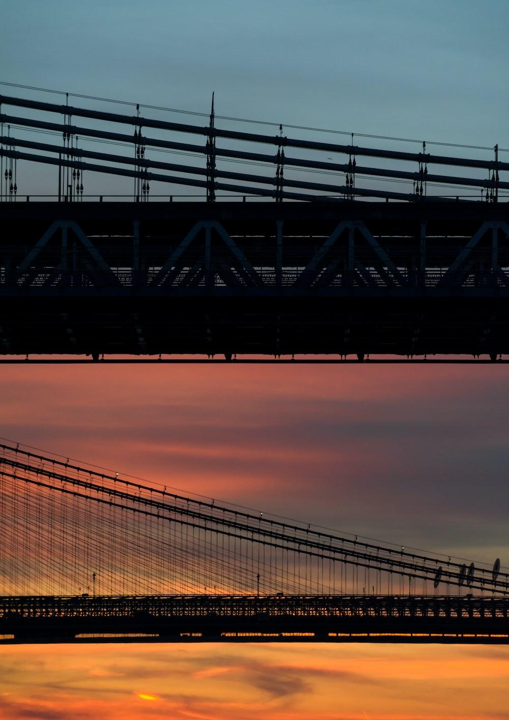 silhouette photo of suspension bridge