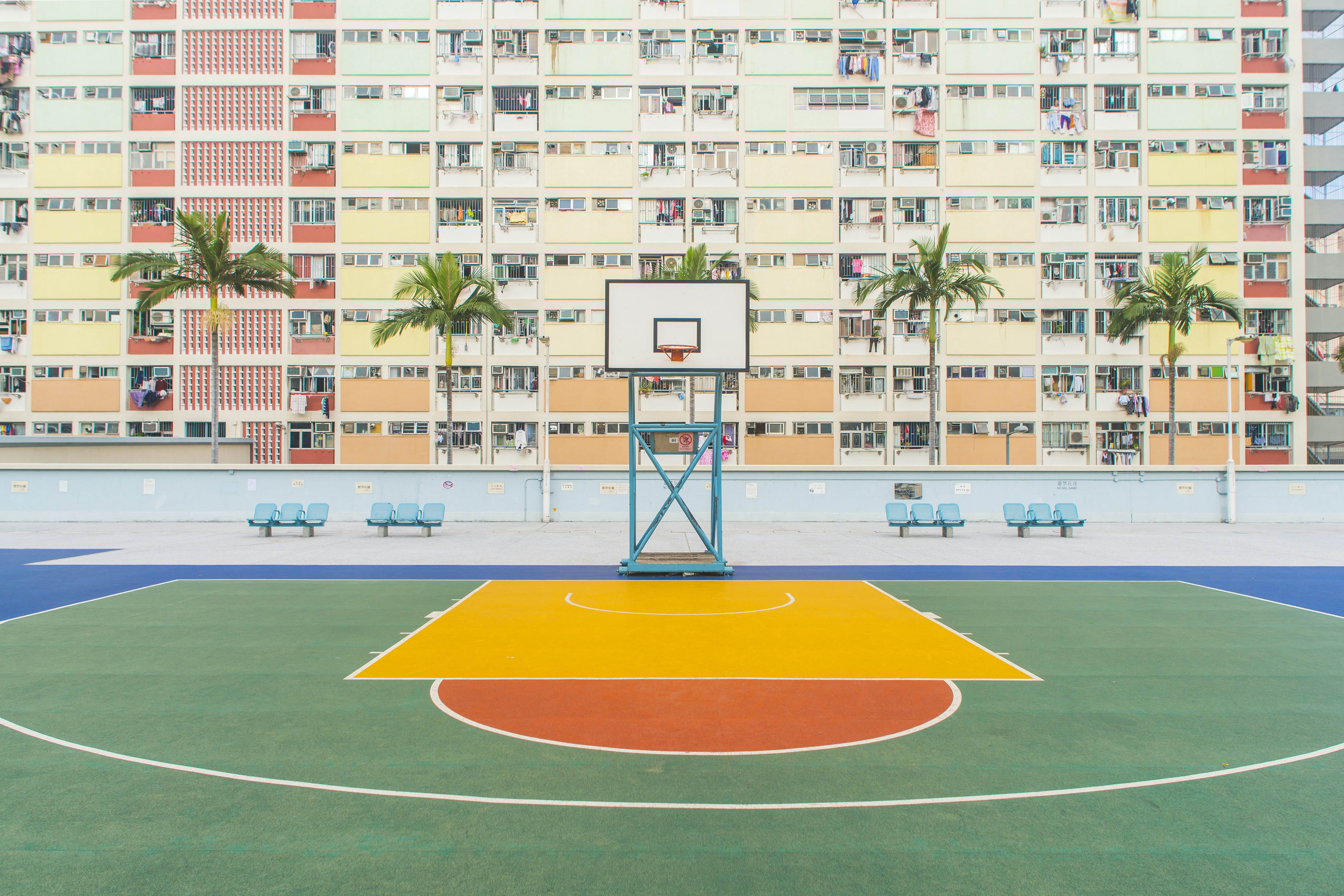 basketball gym near concrete building