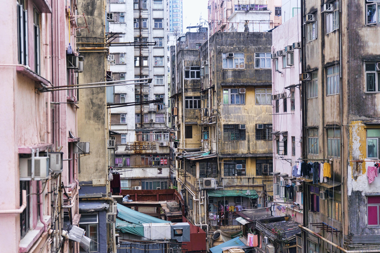 Dilapidated residential buildings in a poor neighborhood in Hong Kong
