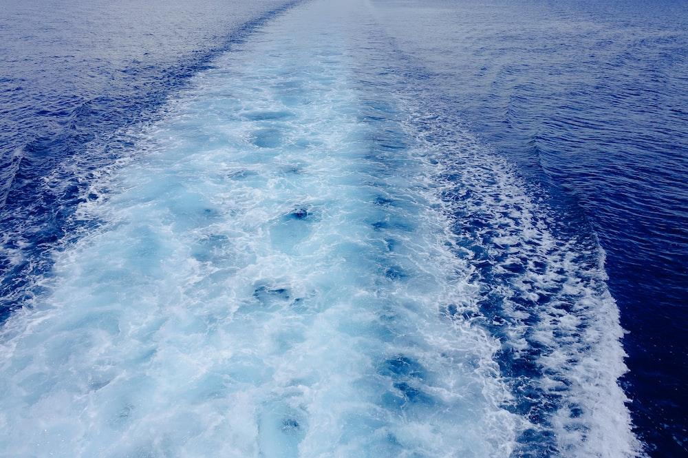 ship trail in sea