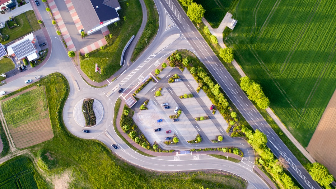 Drone view of the parking lot by the roundabout
