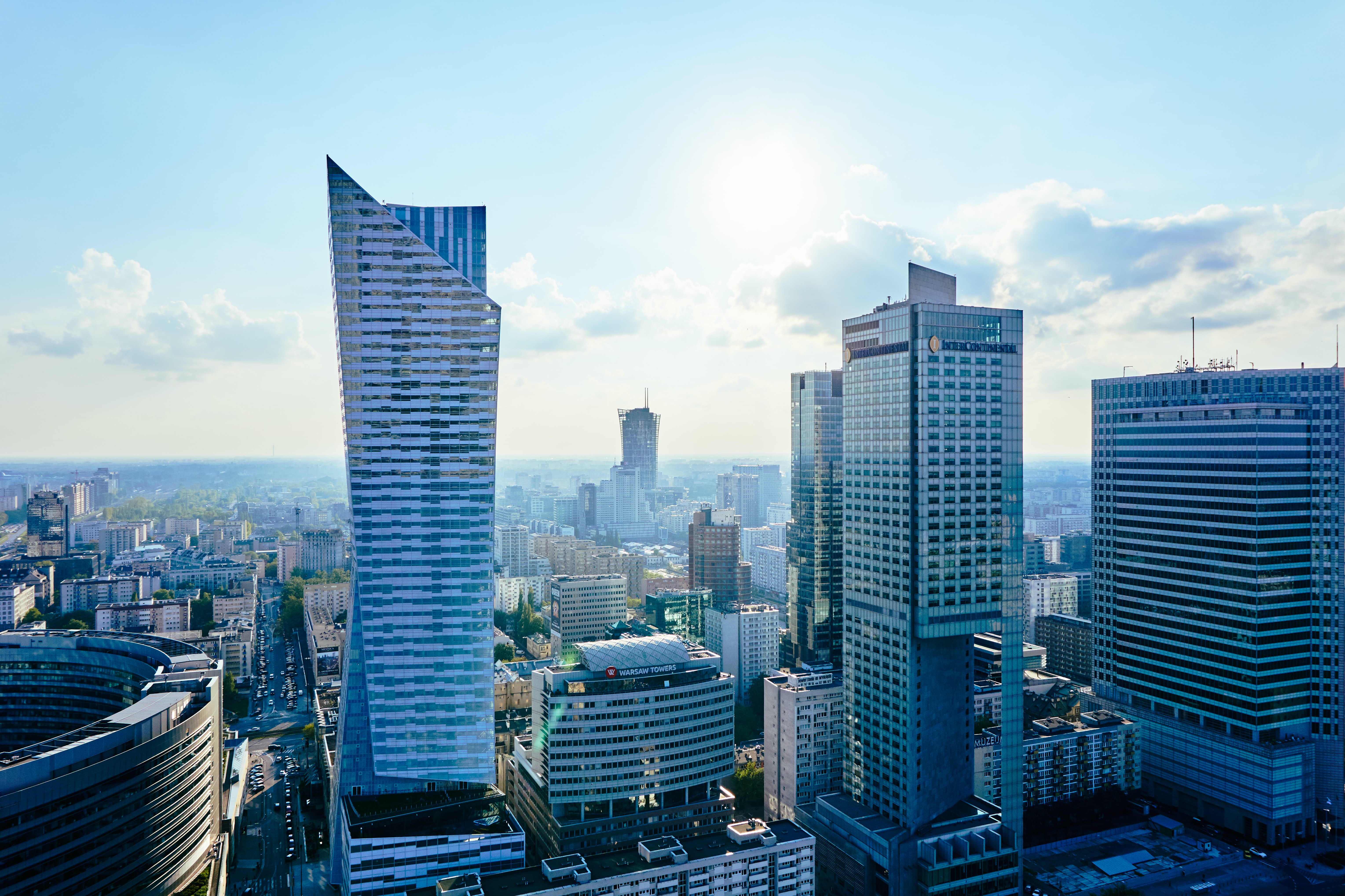 High-rises in downtown Warsaw on a bright day