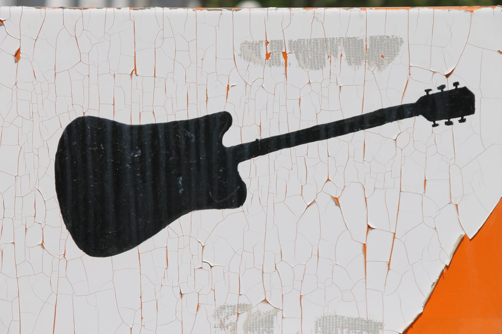 black guitar painting