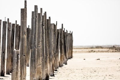 brown wooden fence on white sand during daytime