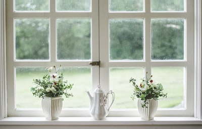 white teapot and tow flower vases on windowpane window zoom background