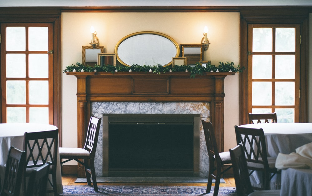 tables near the fireplace