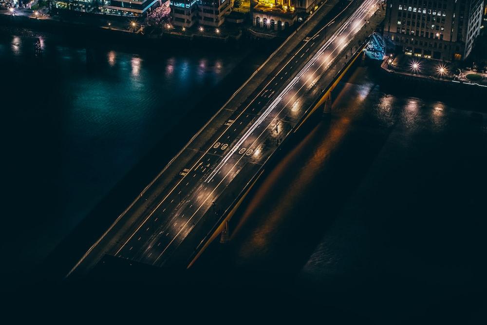 aerial view of building beside bridge