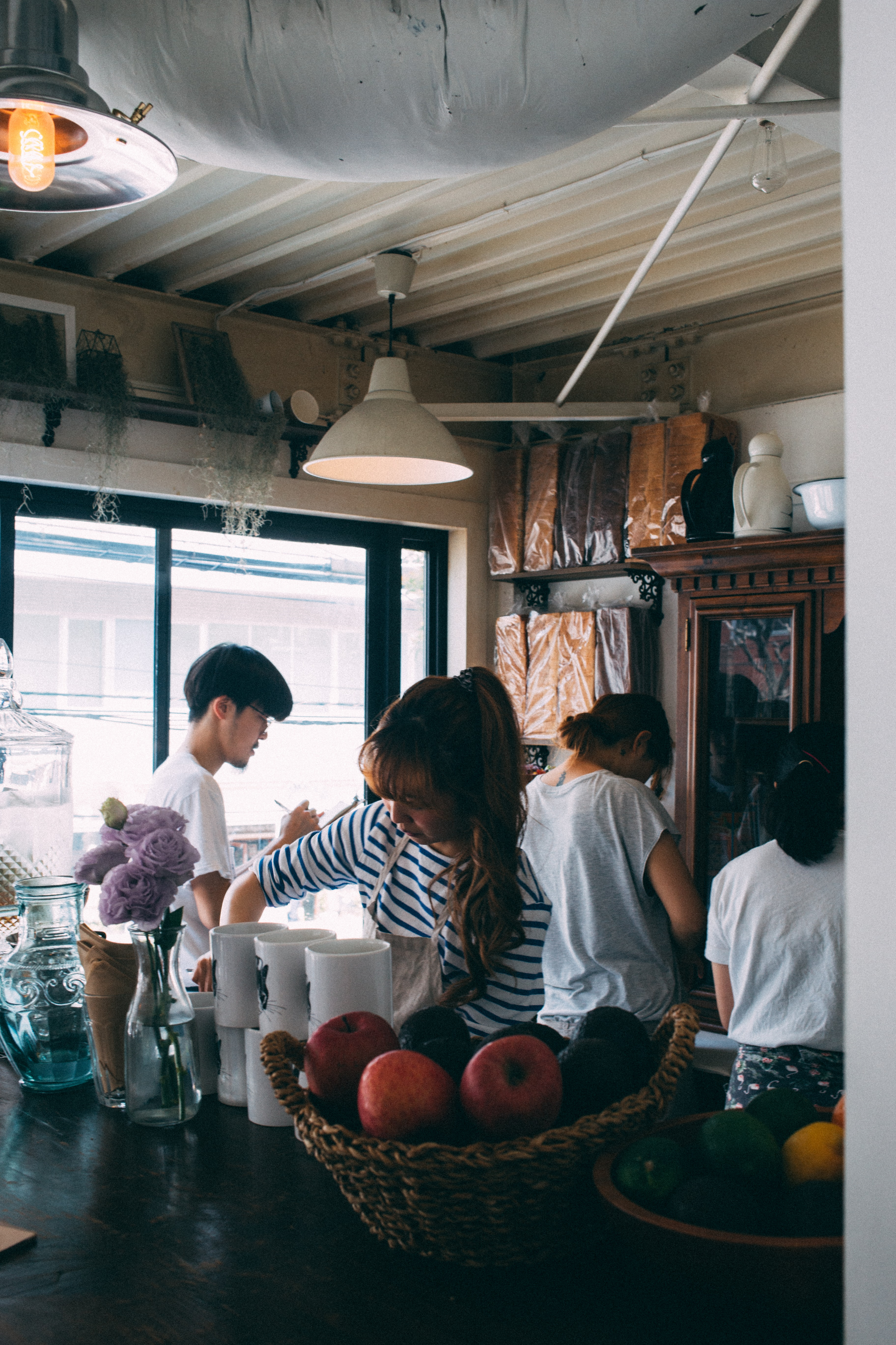 Asians prepping food.