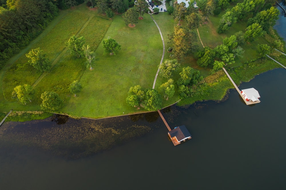 Aerial of house near river