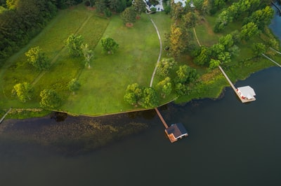 aerial of house near river alabama zoom background
