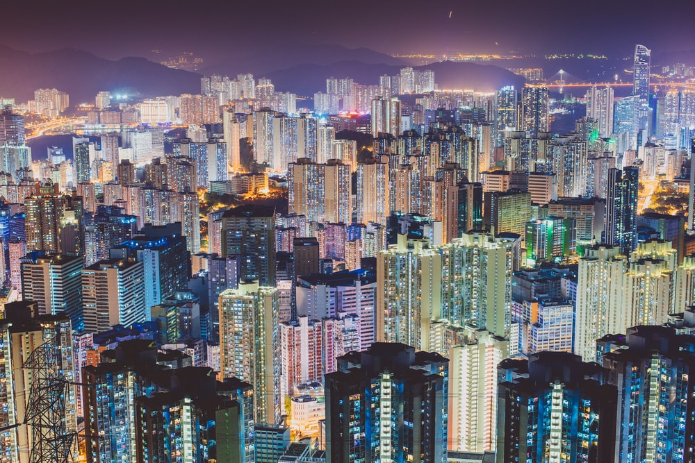 aerial photography of cities scape during night