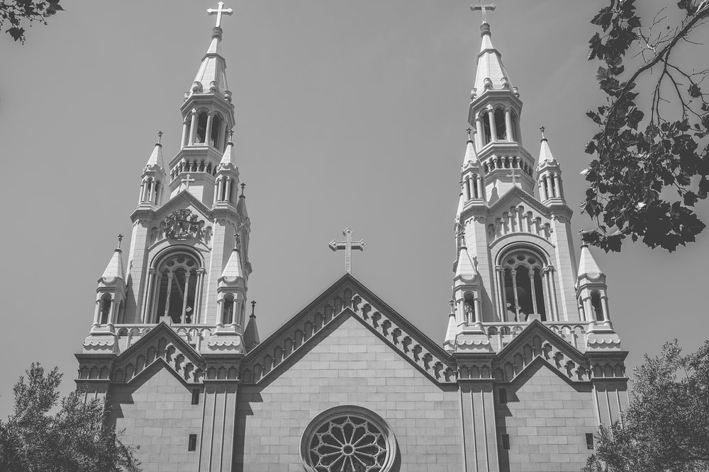 grayscale photo of cathedral