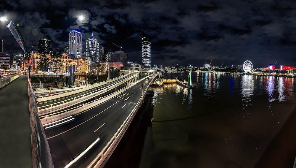 time lapse photo of cars on bridge