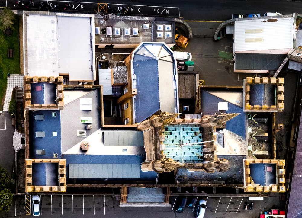aerial photograph of a building