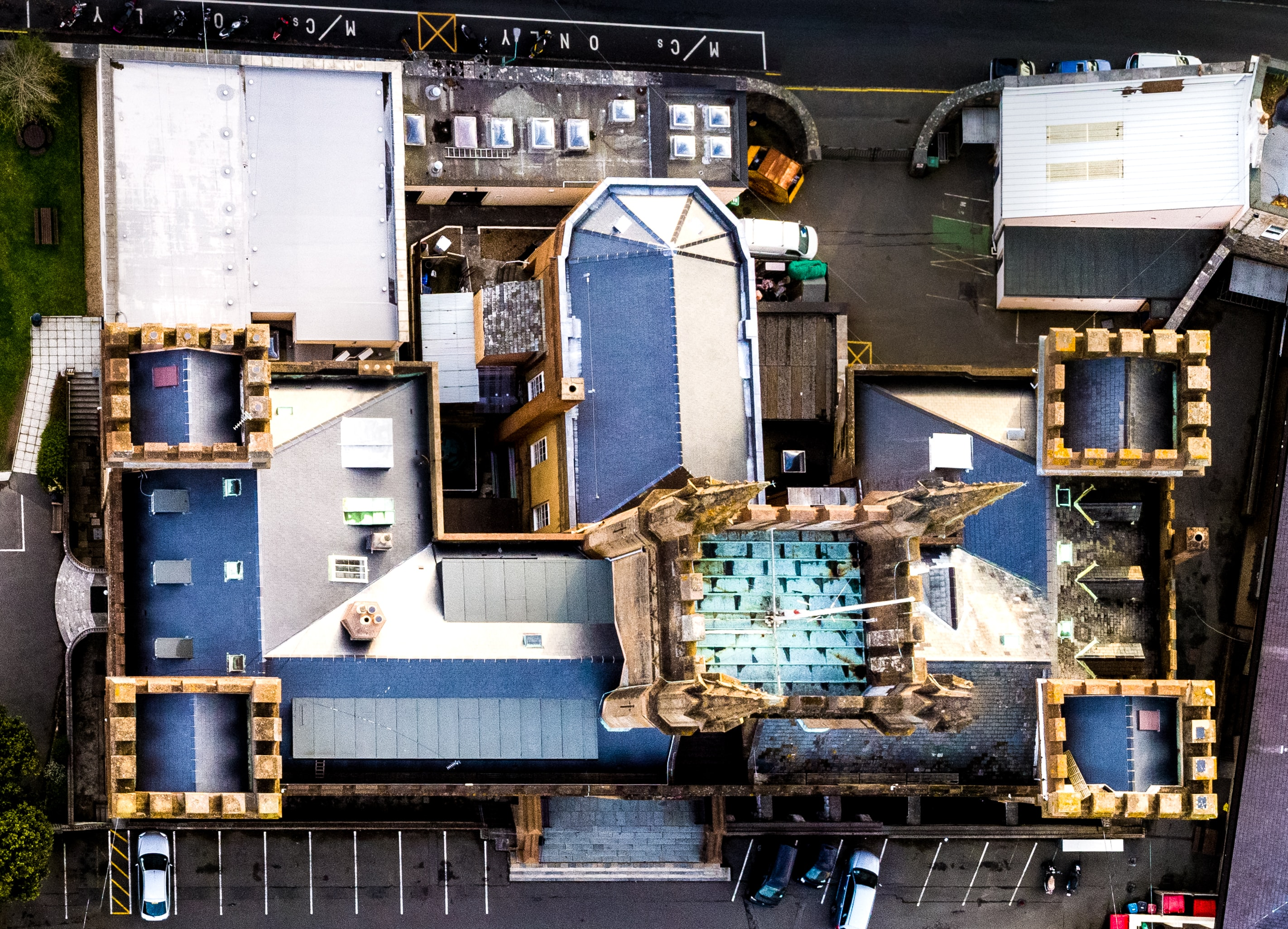 Aerial drone view of a rooftop of the building at the Elizabeth College