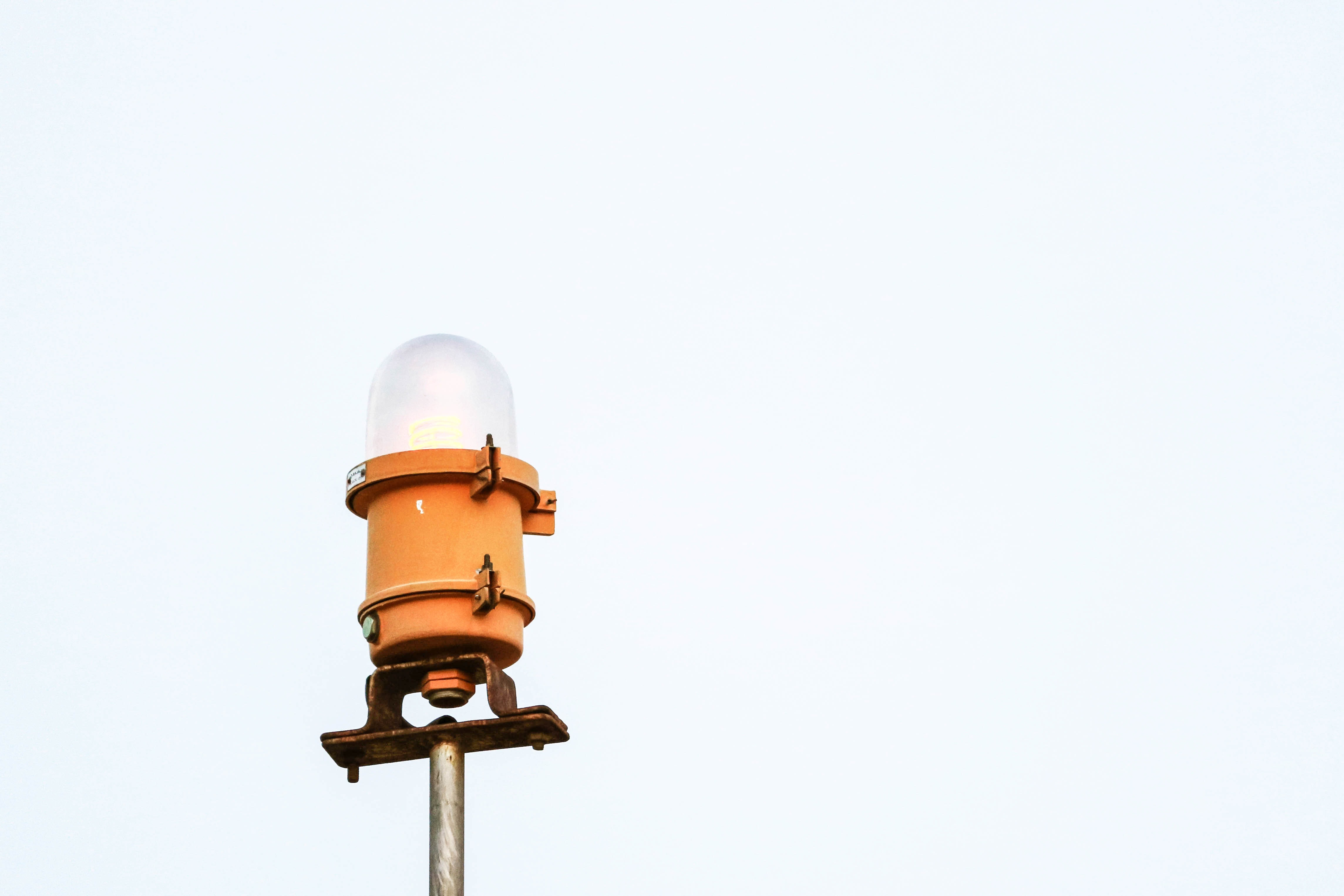 orange post lamp