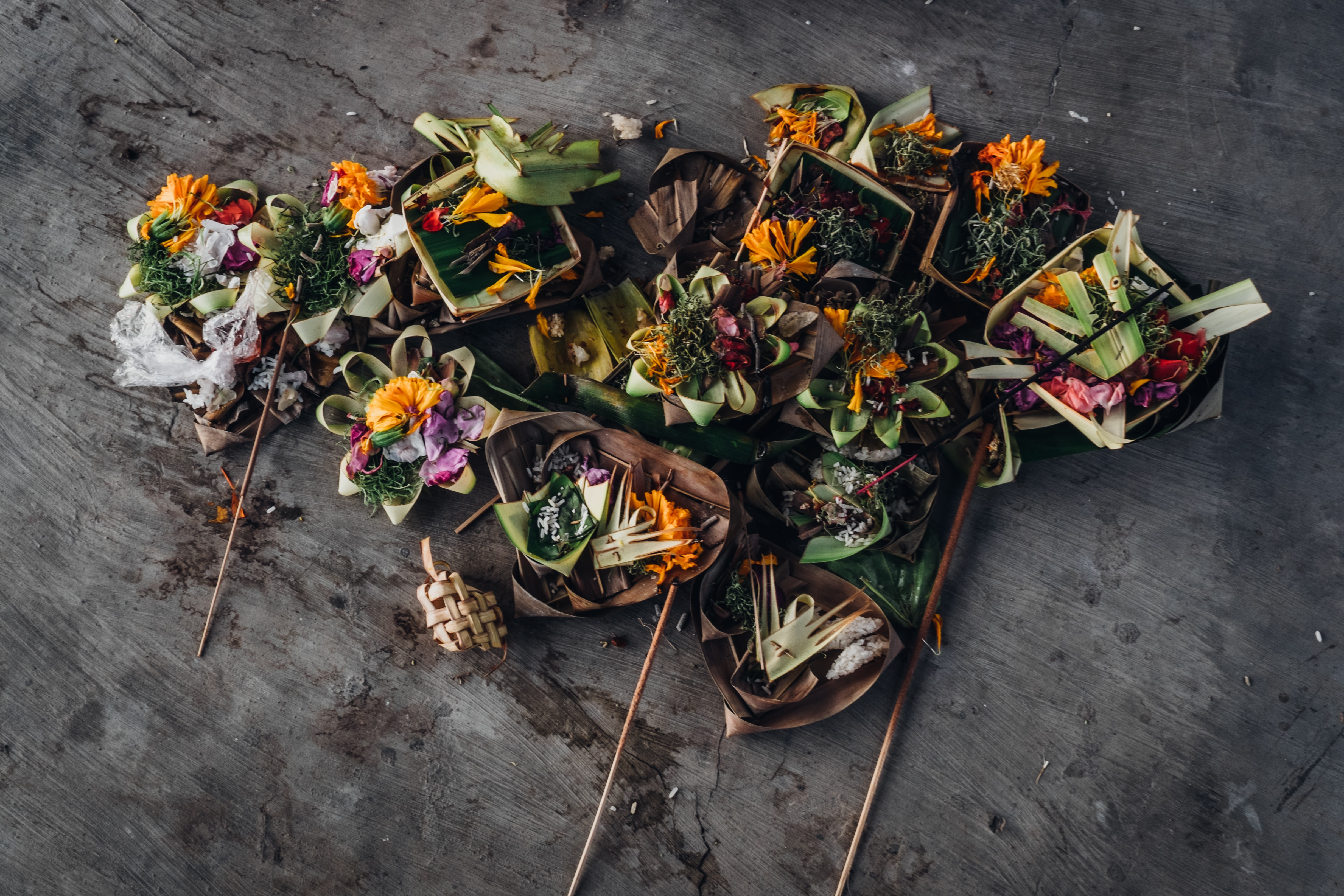 An overhead shot of floral decoration with dry petals and leaves