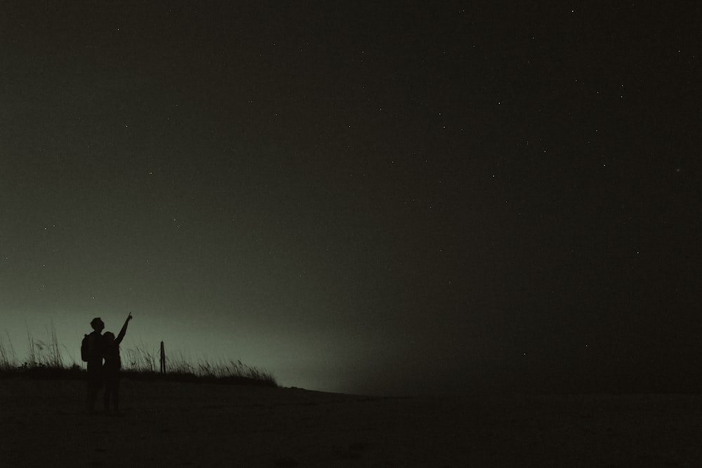silhouette of two people looking at stars