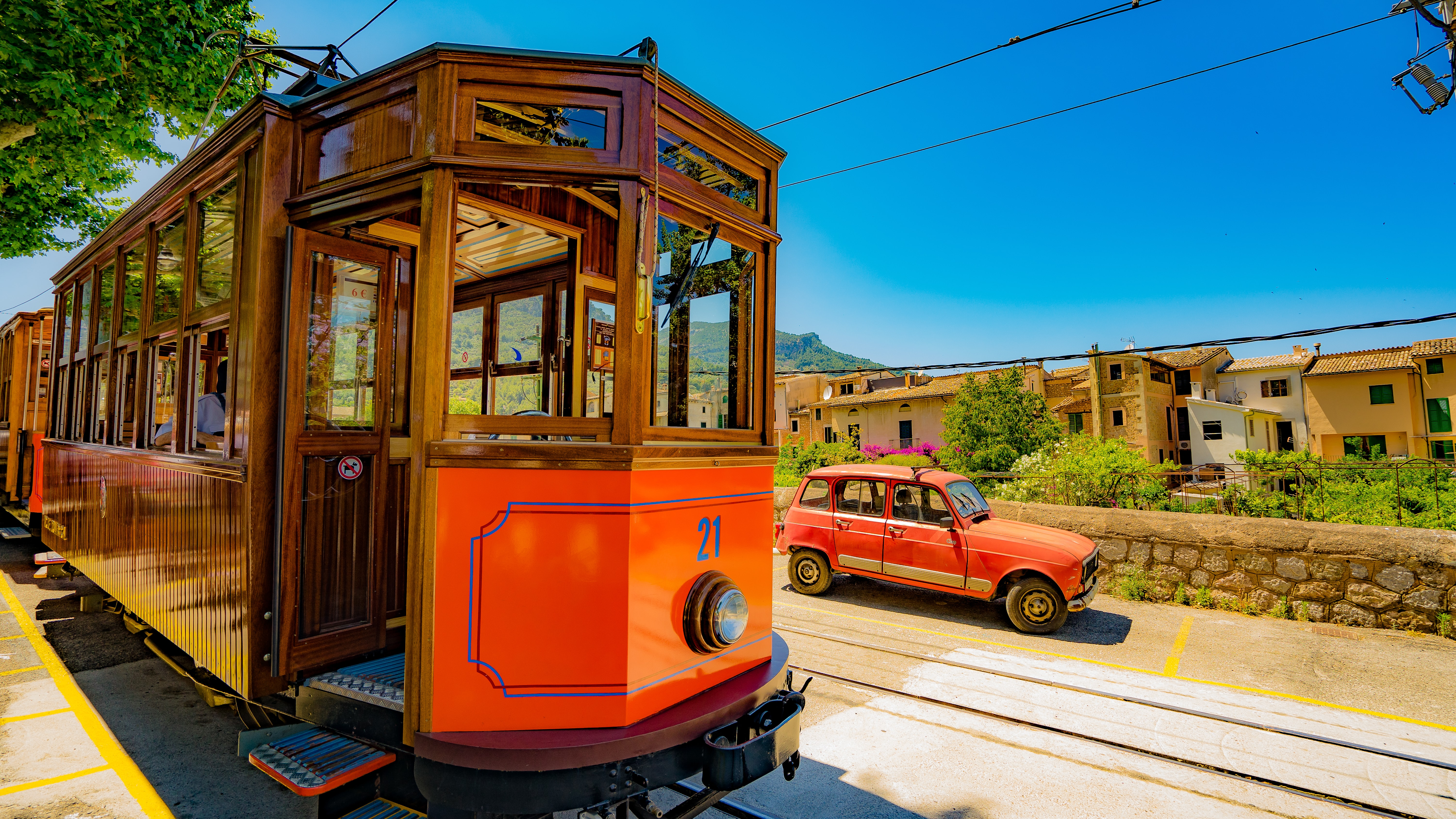 Classic orange street car.