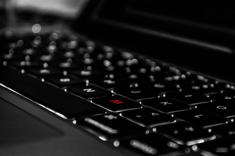 close-up photo of black laptop computer
