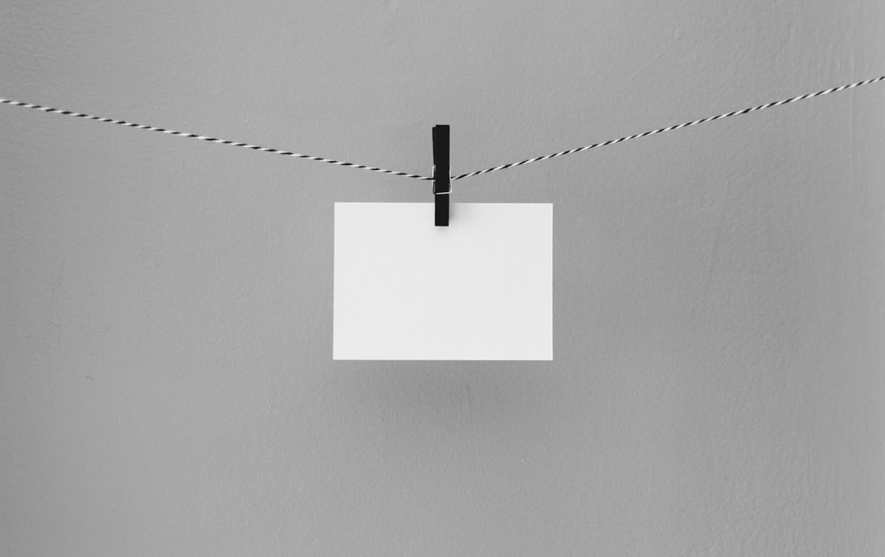 hanged white printing paper