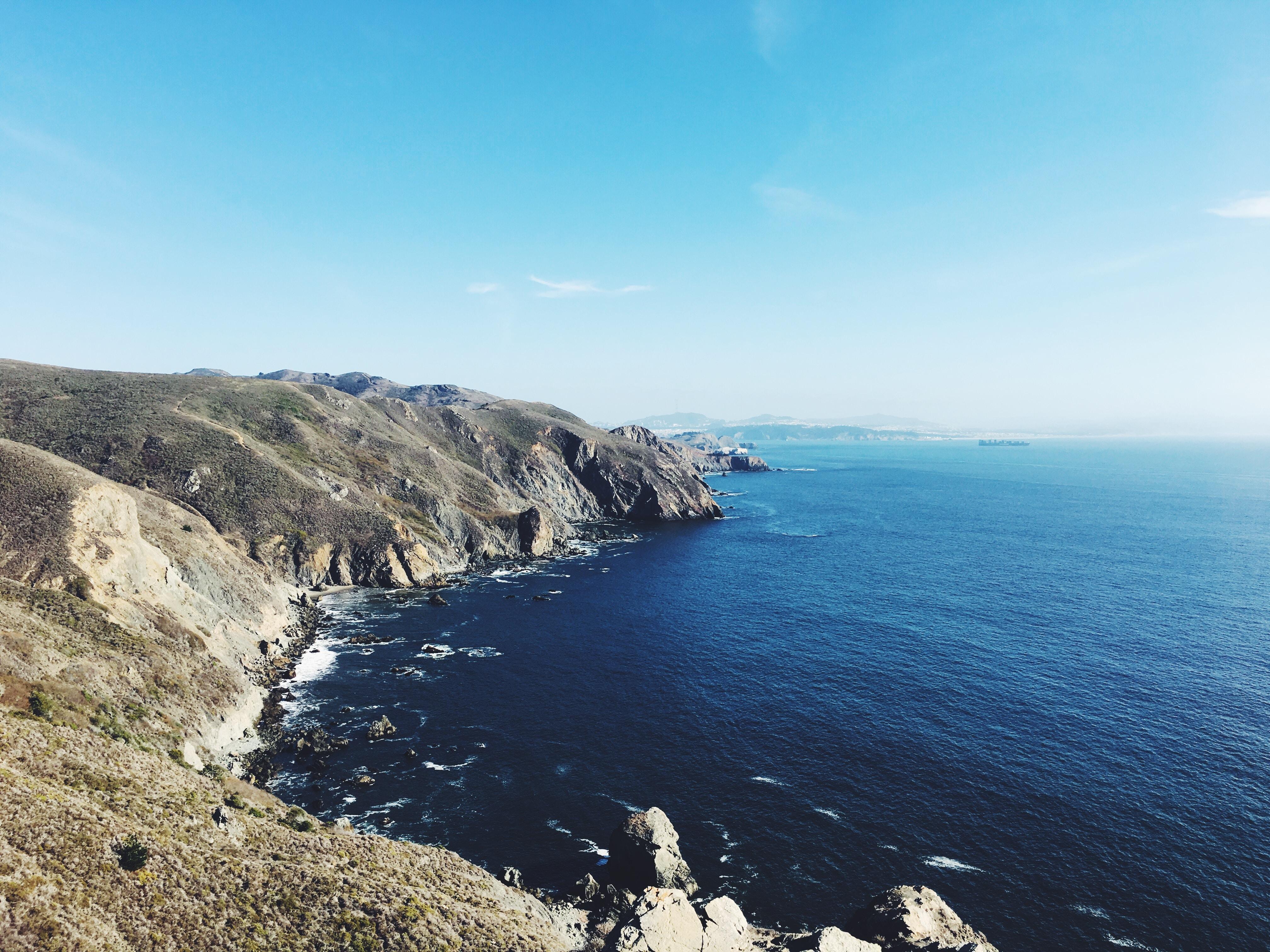 Bluffs on the coastline near a blue ocean