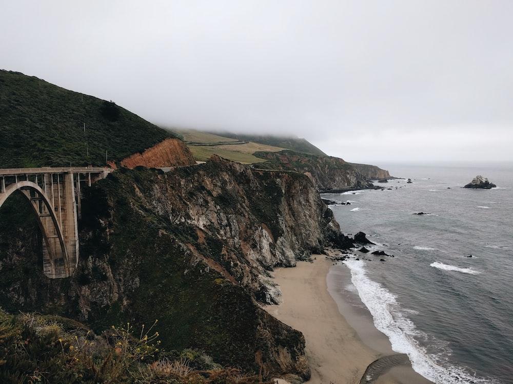 photo of mountain seashore
