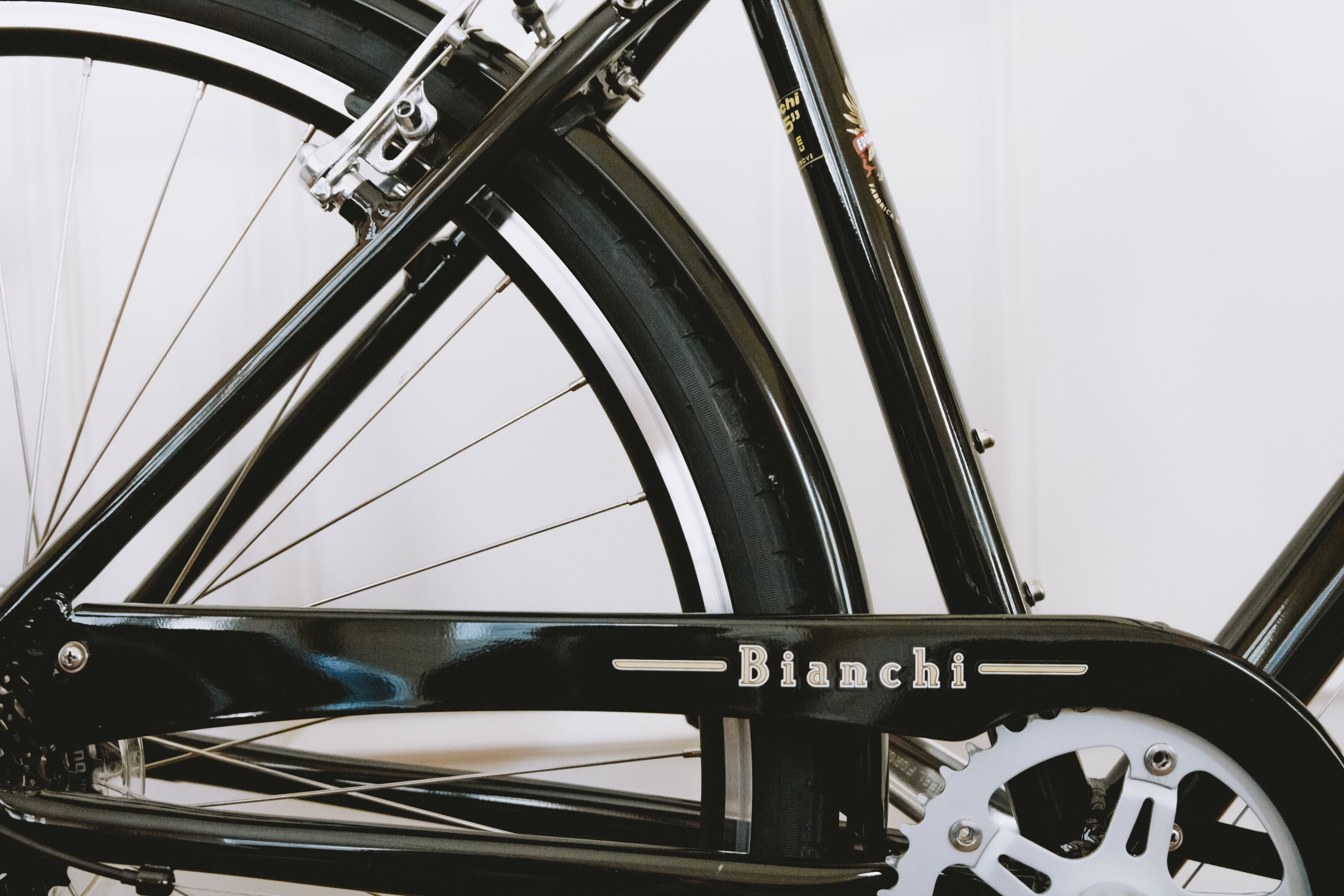 black Bianchi bicycle frame