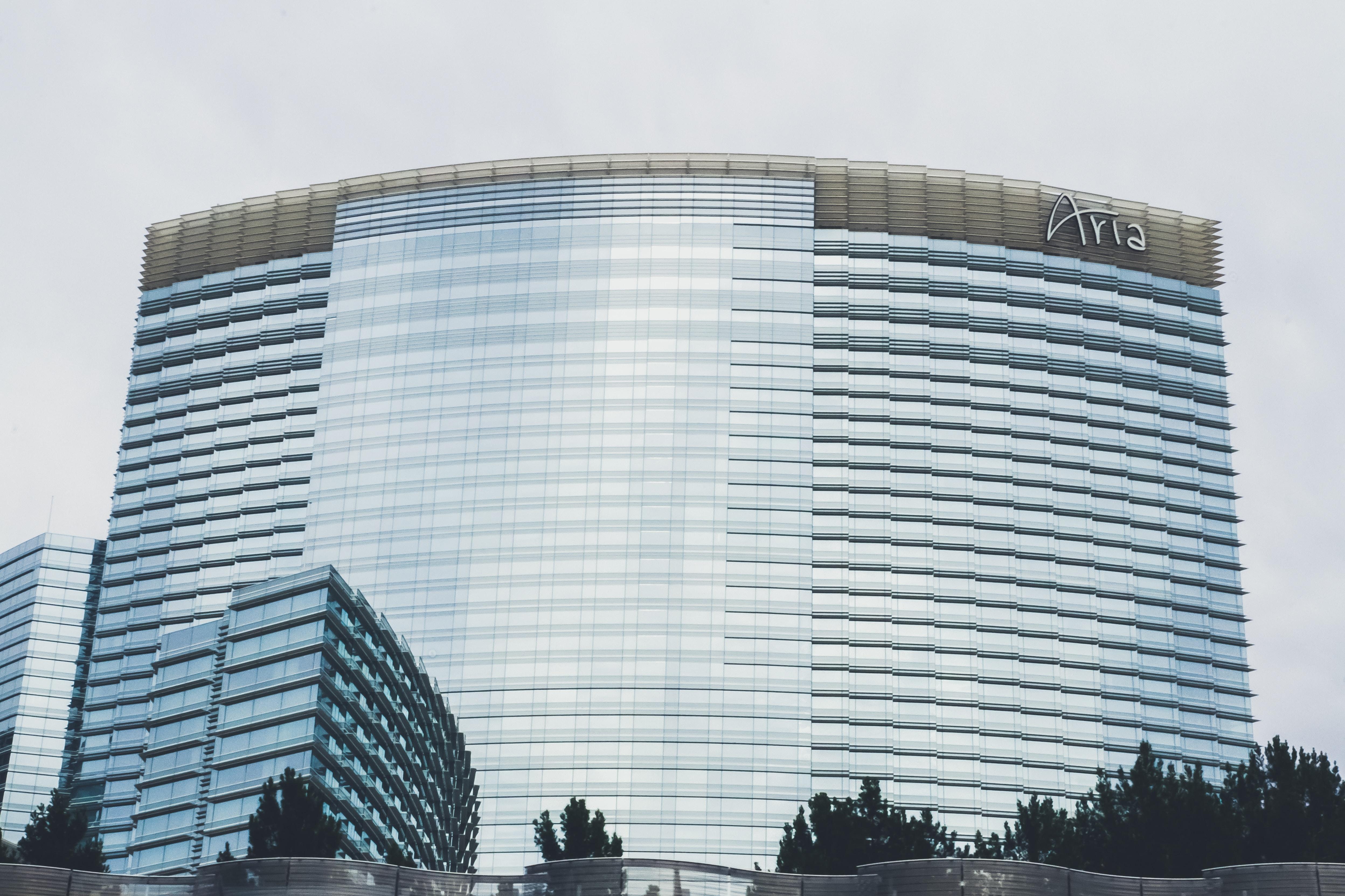 Aria building under grey sky