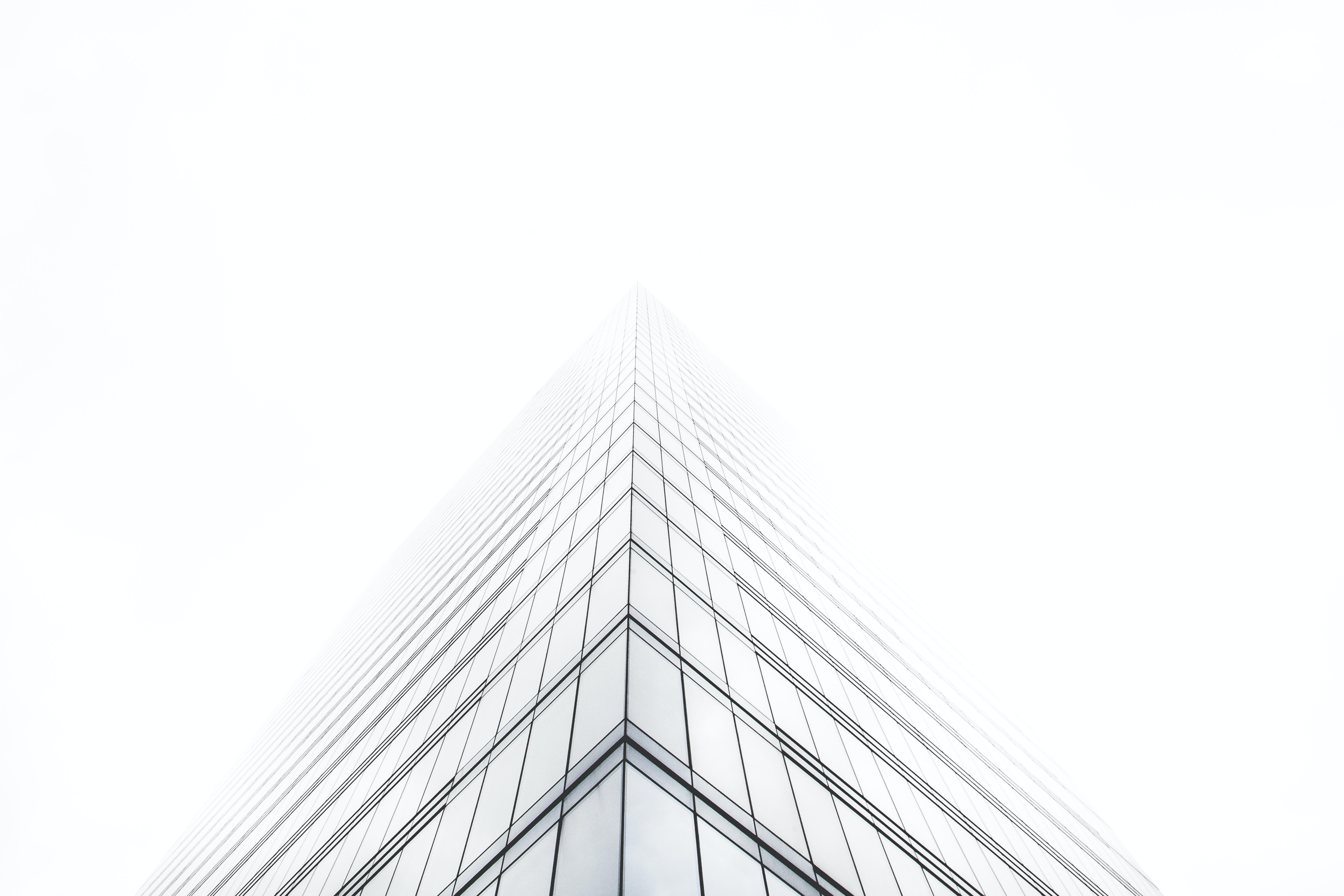 An office building with a glass facade shrouded in fog