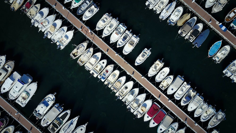 aerial view of boats anchorage in port