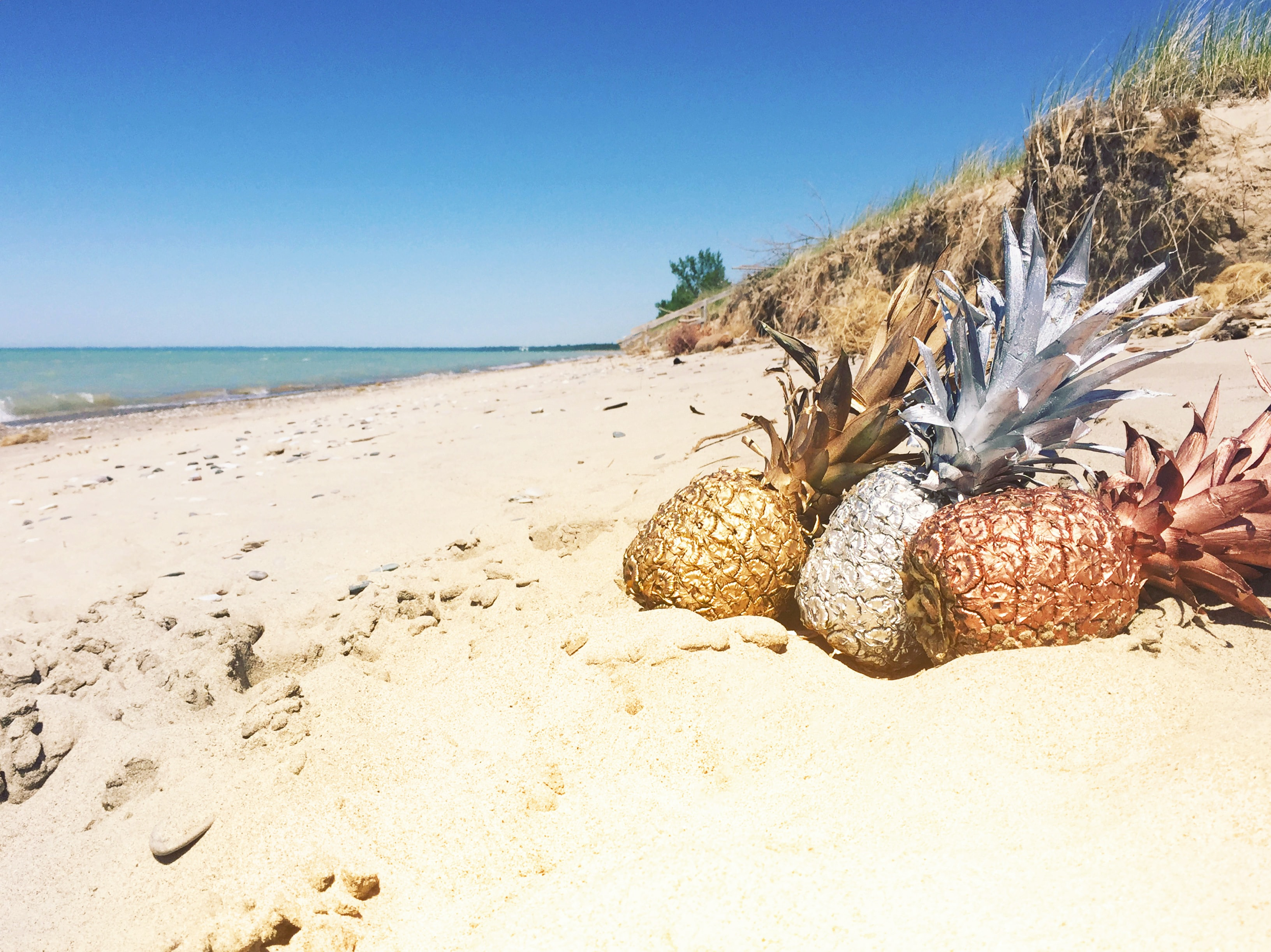 three pineapples on sand beach