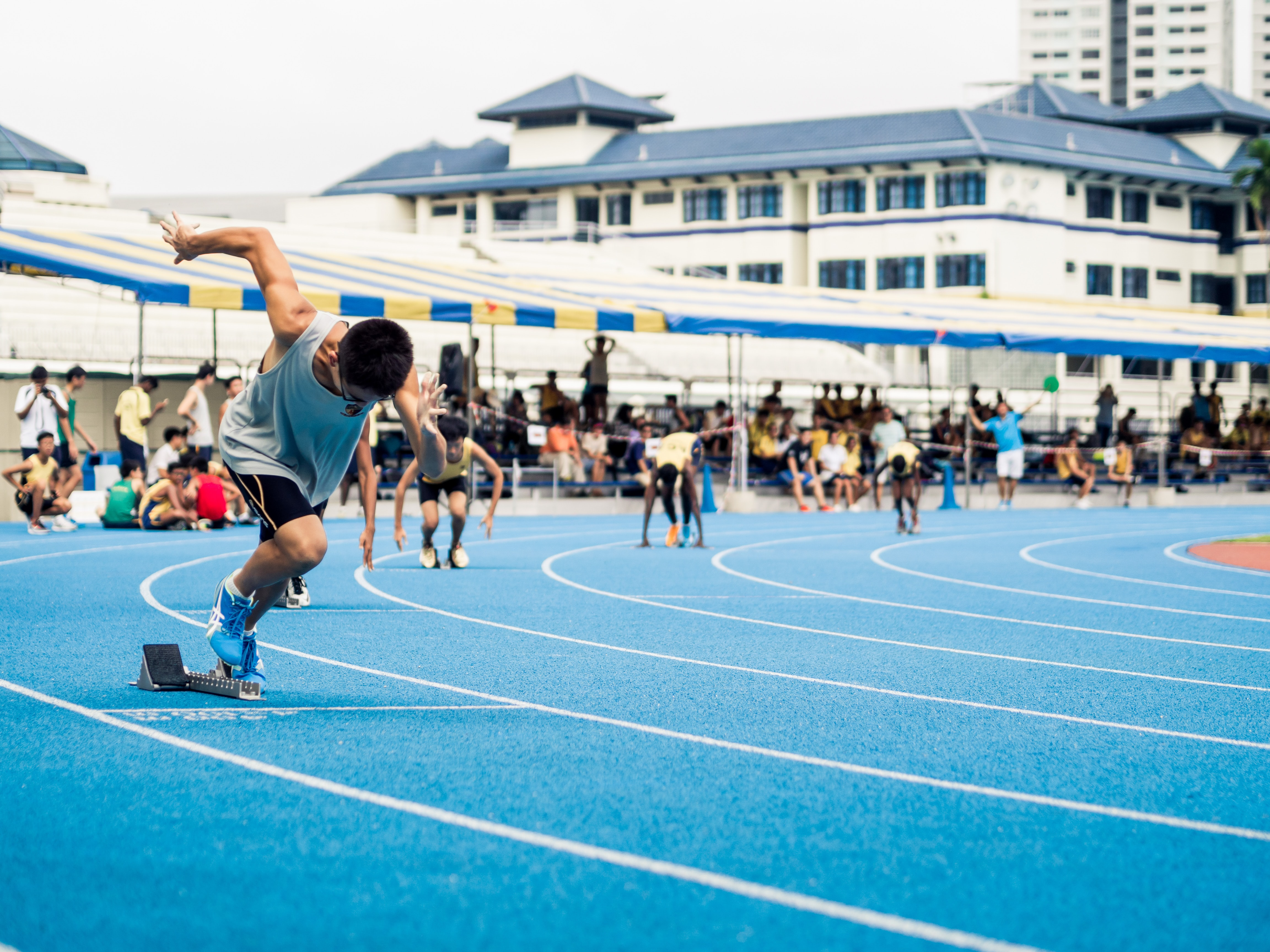 A race on the running track at Anglo-Chinese School in Singapore