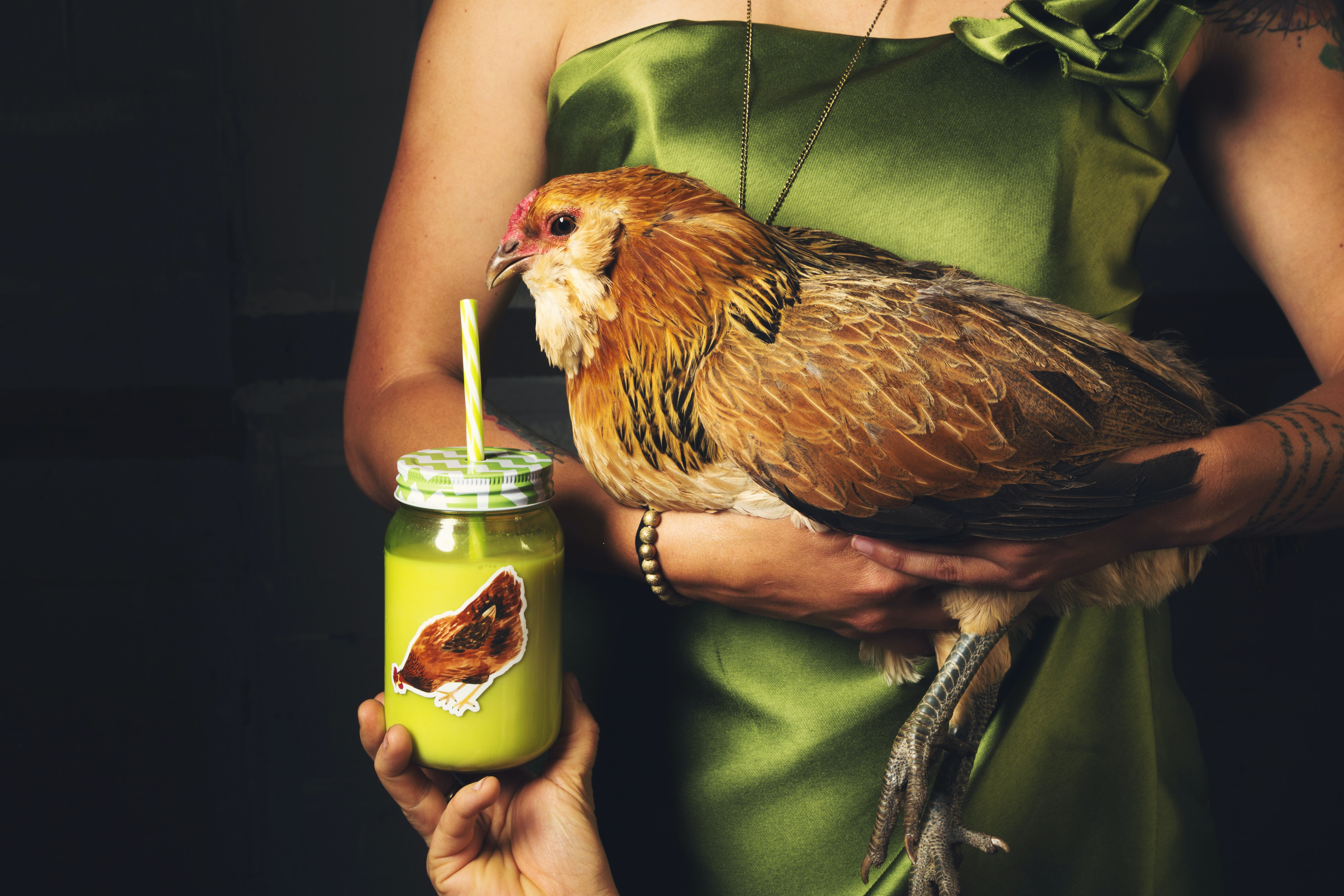 A person holding a green beverage in a jar in front of a large chicken in a woman's arms