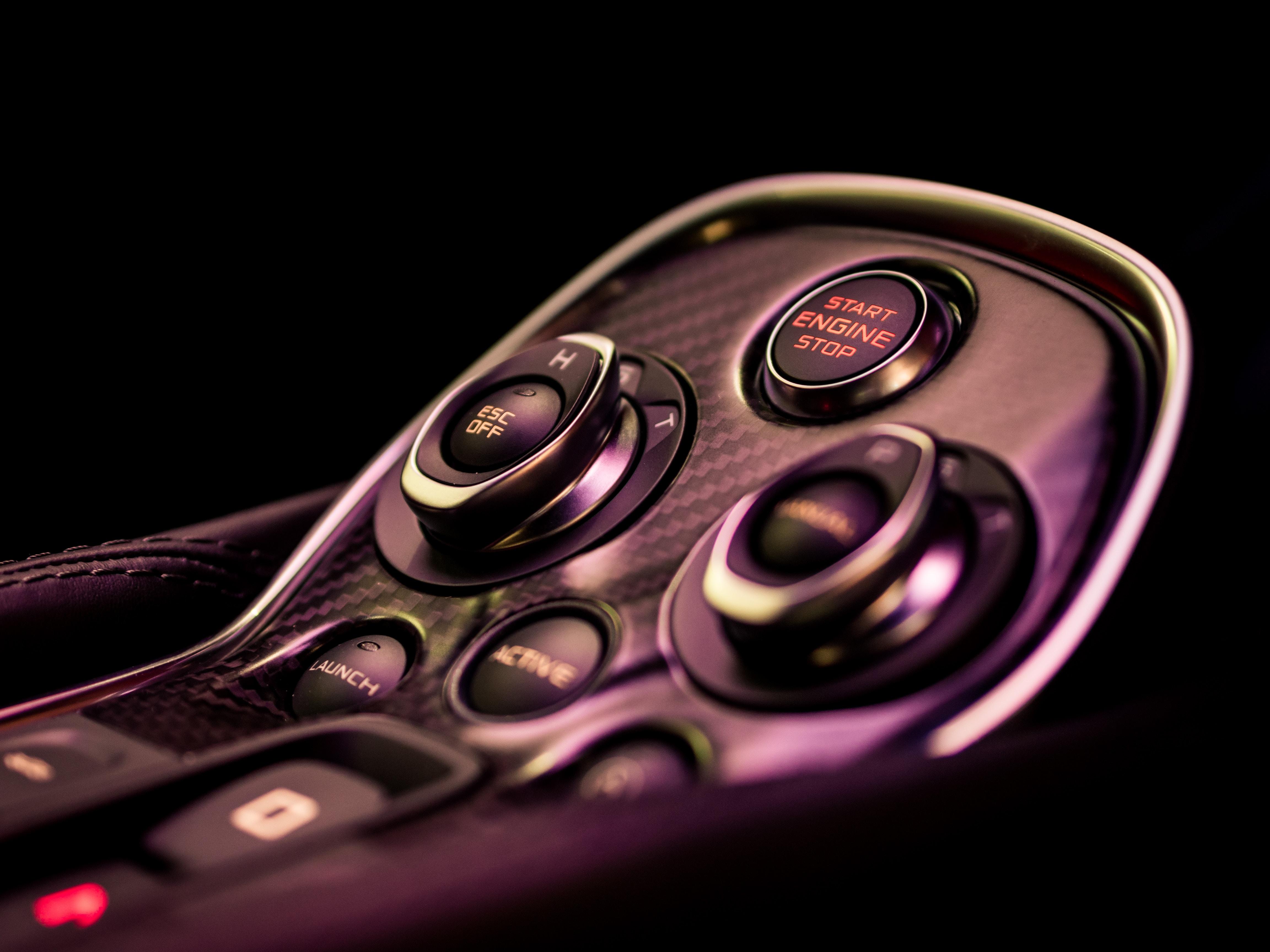 closeup photo of black remote control