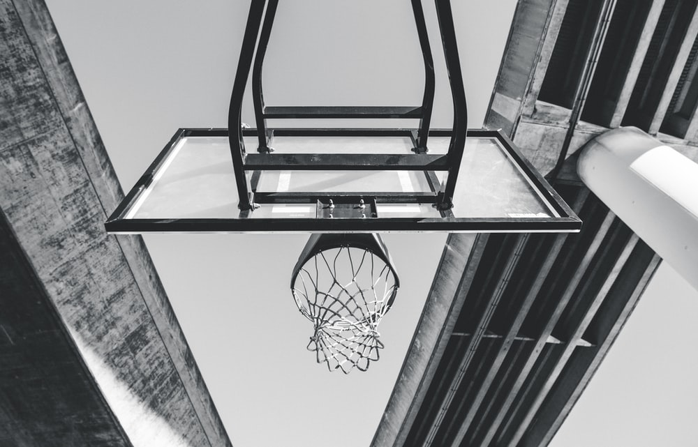 low angle photo of basketball system