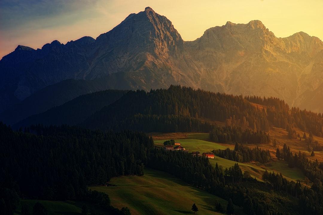Mountain village during golden hour