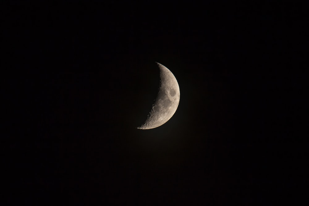The Crescent Moon On Night Sky
