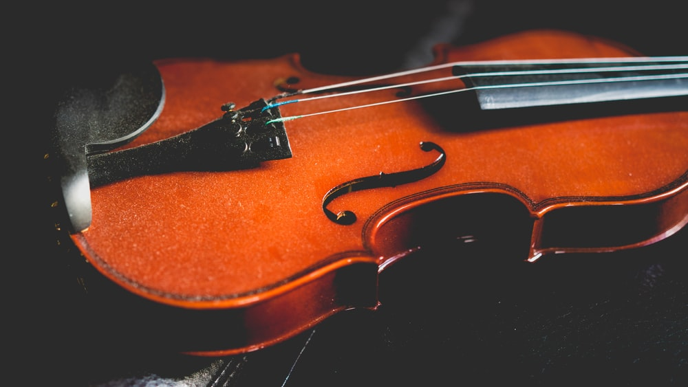 closeup photo of brown violin