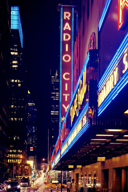 inlighted Radio City signage