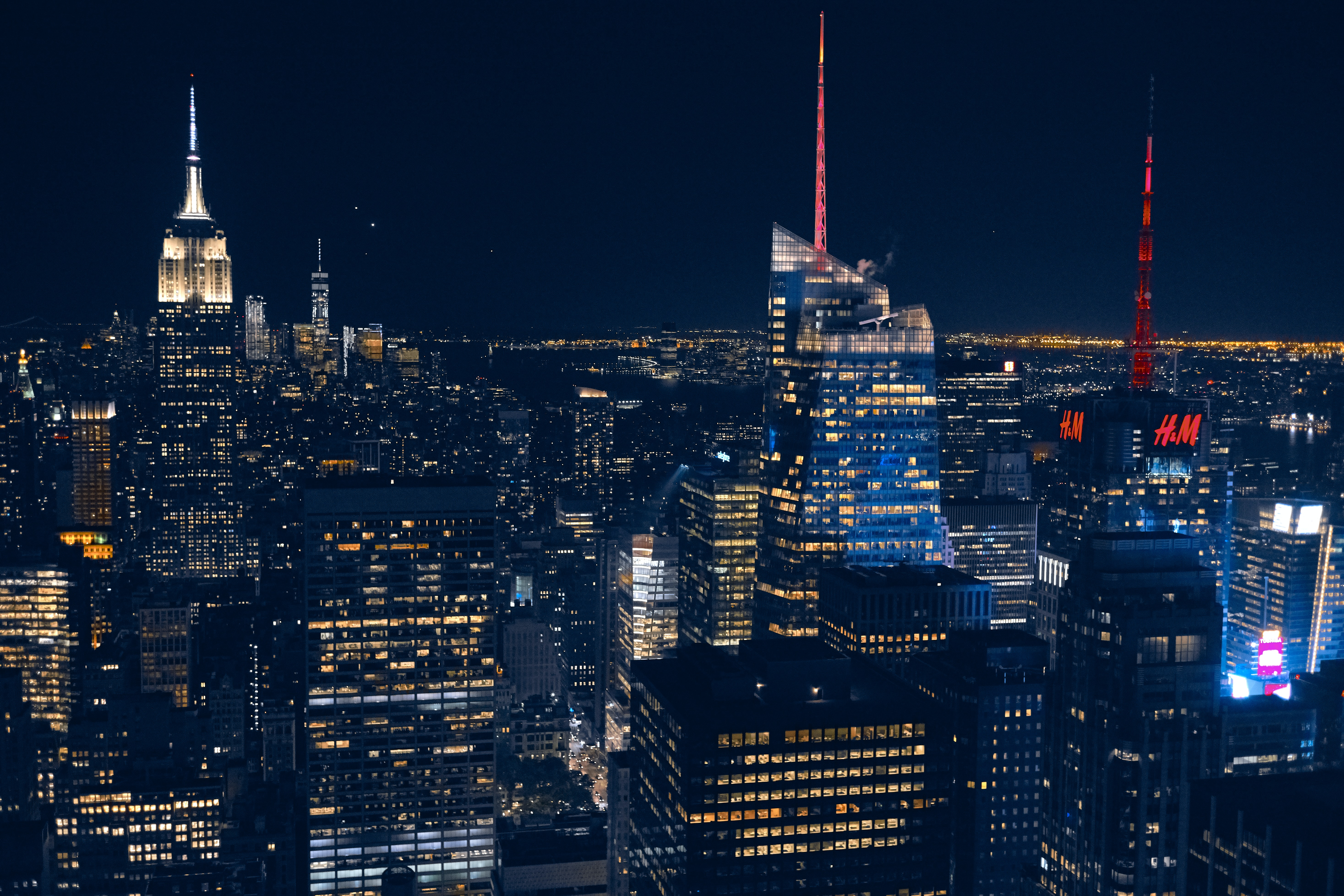 The New York City Skyline and skyscraper lights in the dead of night