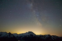mountain under starry sky