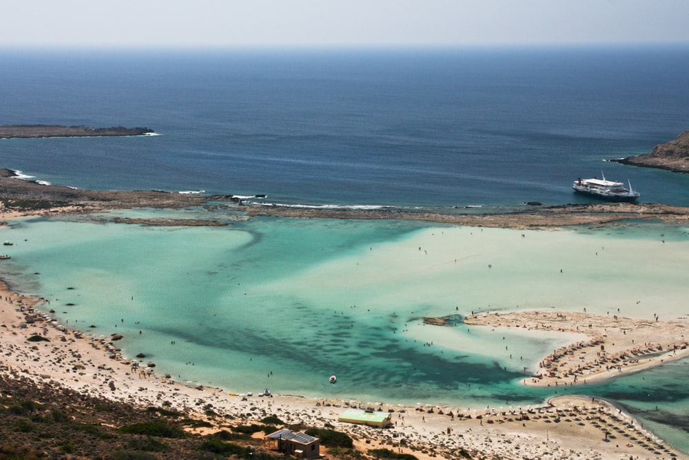 aerial photography of island near shore